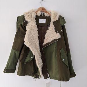 NWT Zara Fur Lined Two Tone Military Parka Jacket